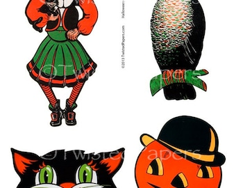 1940s HALLOWEEN PARTY Illustrations, Witch, Owl, Black Cat, Jack-O-Lantern, Vintage Digital Collage Sheet, 13-015