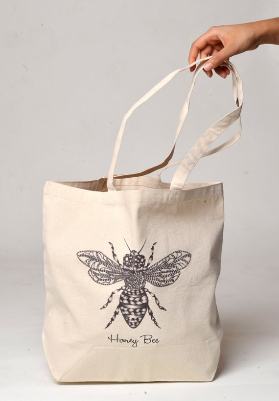 Double-sided Honey Bee Art Print Canvas Tote Bag / Recycled Canvas Tote Bag