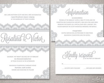 "Lace ""Rosalind"" Wedding Invitation Suite - Romantic Vintage Elegant Deco Invite - Custom DIY Digital Printable or Printed Invitations"