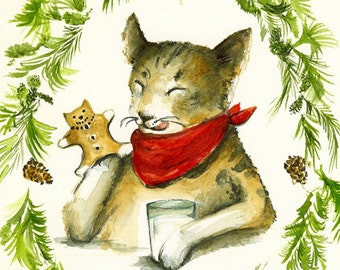 "Cat Christmas cards, holiday cards- cat cards, ""Gingerbread Kitties"",  all occasion, card set"