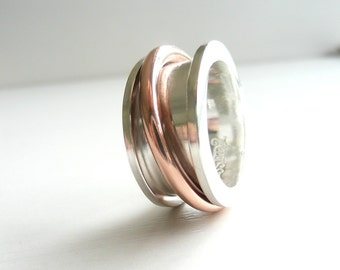 Spool Sterling Silver and Copper Spinner Ring, Worry Ring, Anxiety Ring, Meditation Ring