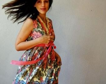 vintage 1960s princess FLORAL wedding forest fantasy maxi dress