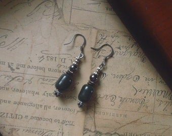 Hematite and Dark Green Glazed Ceramic Beaded Earrings ~ Handmade Boho Fashion Jewelry