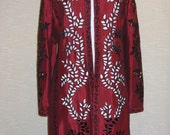 1980s Taffeta Evening Coat with Gorgeous Embroidery and Cut Work