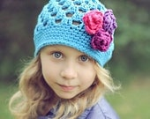 Big Sister Flapper Beanie, Turquoise Cotton Hat with 3 Roses, Kids Crochet Hats, Girls Crochet Hat, One Size Fits Most Girls 5 - 12 years