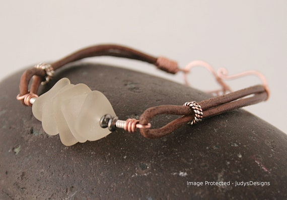 Seaglass leather bracelet, clear seaglass, large