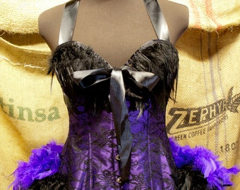 PURPLE MARTIN Black Saloon dress Costume burlesque corset dress wth feathers