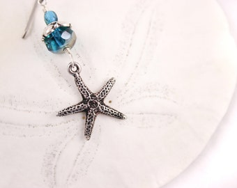 Starfish Earrings Czech Glass, Teal and Silver
