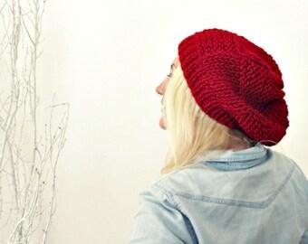 Womens Slouchy Knit Hat . Slouchy Beanie . Red Slouchy Hat . Grunge Beanie . Loose Beanie Hat . Hand Knit Beanie . Knitted Beanie Women