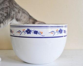 Vintage  Kobe Kitchen Japan White Enamel Bowl with Flowers