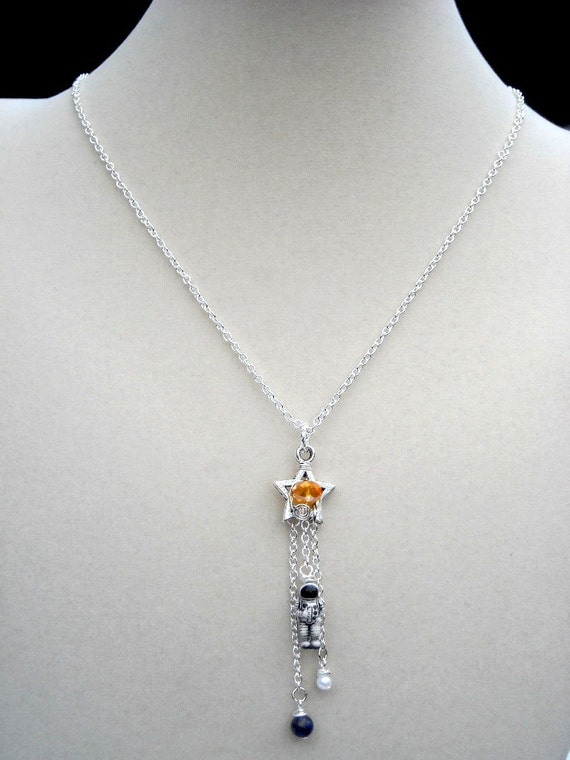 Astronaut in Space Necklace Pendant