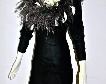BILL BLASS Vintage Feather Boa Mini Dress Black Velvet - AUTHENTIC -
