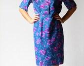 vintage 1970s dress / 70s blue shirt dress / Avery Floral Dress