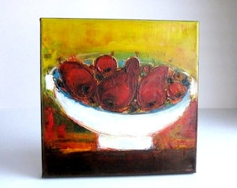 White bowl of fruits original oil on canvas 12x12 inch small art great gift idea for parents anniversary or Autumn birthdays or Thanksgiving