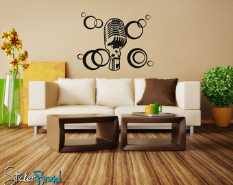 Vinyl Wall Decal Sticker 70's Inspired mic OSAA145B