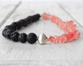 Lava Rock and Rose Quartz Necklace, Pink and Black Jewelry, Dainty Necklace, Black Lava Jewelry, Gift Under 100, Santorini Greek Jewelry