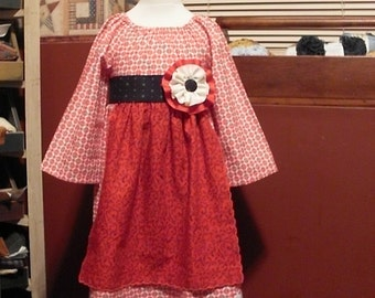 Christmas Red Peasant Dress with Faux Apron, Size 5-6 OOAK