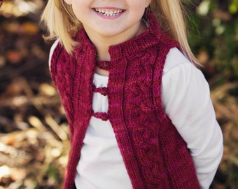 "KNITTING PATTERN PDF file for Girl's Cabled Vest-""Dulce"""