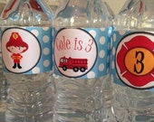 Firefighter Water Bottle Labels, Firetruck Water Bottle Labels - 15 Personalized, Adhesive, & Waterproof Labels - firetruck party collection