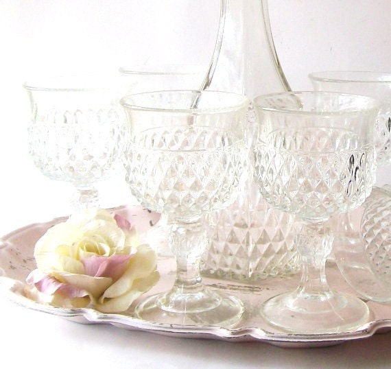 Vintage Crystal Wine Set. French Country Decanter Stemware. Romantic Cottage chic decor. Wedding Accessories