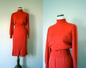 Vintage Dress / 60's Knit Dress / Medium