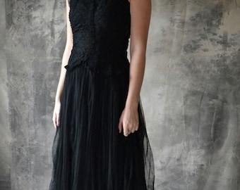1940s long black netted tulle dress