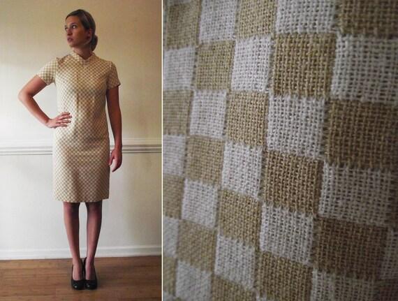 SALE 60s Mod Wiggle Dress  / 1960s Checker Print S M / Small Medium Vintage