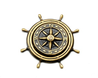 Steam Punk Hat Pin Steampunk Hat Pin Compass Rose Pin Ship Wheel Pirate Outfit Nautical Steampunk Jewelry By Victorian Curiosities