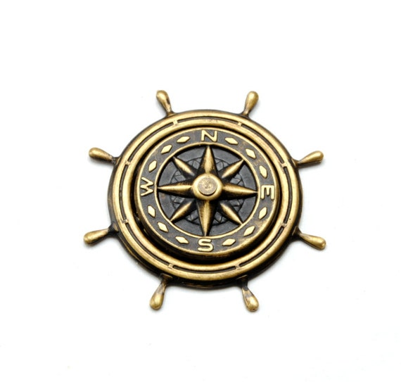 Pirate Hat Pin Compass Rose Pin Ship Wheel Pirate Costume Outfit Nautical Compass Rose Pin Steampunk Jewelry By Victorian Curiosities