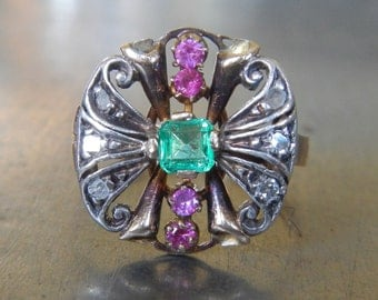 Emerald Ruby & Diamond Ring-Unique Engagement Ring-Colorful Stone-Vintage Emerald Cocktail Ring-Antique Statement Ring-1900s Right Hand Ring