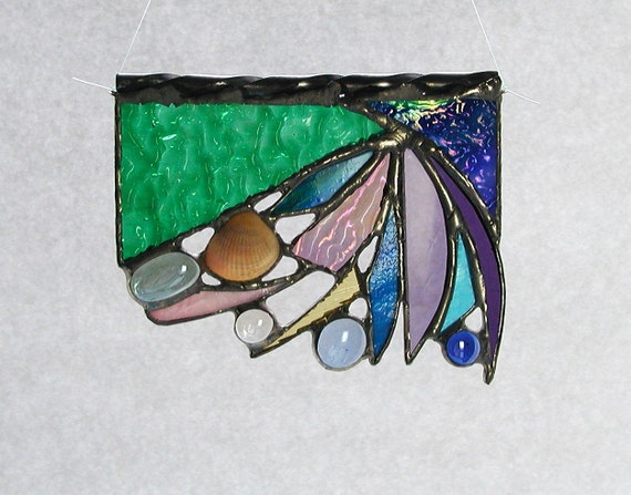 Abstract, Suncatcher, Seashell, Stained Glass, Ocean, Blues, Greens, Home Decor, Decorative, Window Art