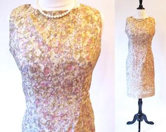 Marilyn Monroe Dress, Vintage 50s Beige Dress, 1950 Sheath Dress, 50s Fashion
