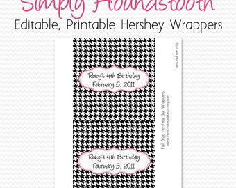 Candy Bar Wrapper, Black and White, Hot Pink, Houndstooth Birthday Party Favor, Bridal Shower Candy Bar Label - Editable, Printable, Instant