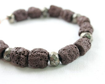 Men bracelet brown lava jewelry for man tribal stone bracelet pyrite bracelet for men, stone mens jewelry, lava stone bracelet