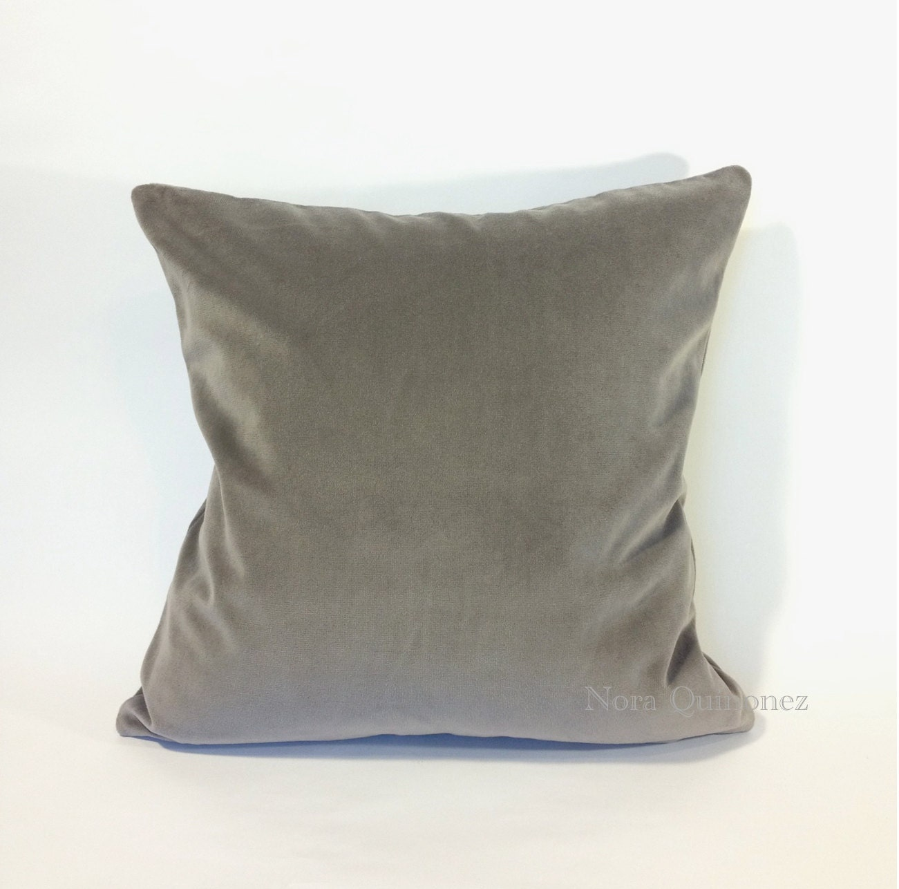 Throw Pillow Covers 26x26 : Gray Cotton Velvet Pillow Cover - Decorative Accent Throw Pillows - Invisible Zipper Closure ...