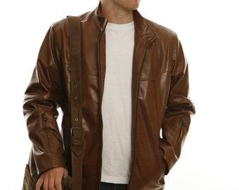 Mens pratical brown leather jacket