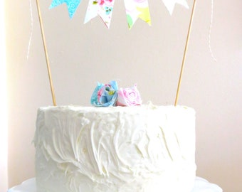 """Vintage Fabric Cake Bunting- """"A String of Lovely"""" Made to Order"""