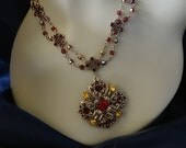 Take 15% off (coupon code JANSALE15) Vintage Gold Toned Filigree Red Garnet Citrine Rhinestone Victorian Style Necklace Earring set