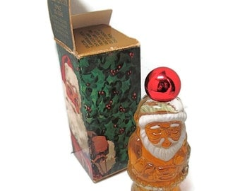 Vintage Glass Santa with Topaze Cologne and Box Perfume Bottle Collector Gift