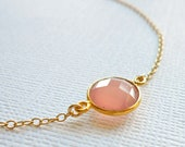 Pink Chalcedony Necklace - Gemstone Necklace - Gold Bezel Set Necklace - Petite Solitaire, Framed Stone Jewelry - Bridesmaids Mother Sister