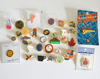 Vintage Metal Pins! Buttons Destash Instant Collection or Gifts of 30 different Pinbacks!