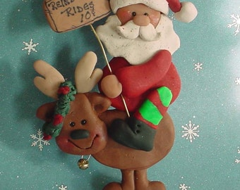 Santa Claus Reindeer Christmas Ornament Rudolph Rides Holiday Wreath Polymer Clay Milestone Cake Topper Jingle Bells Caribou Rider 1st
