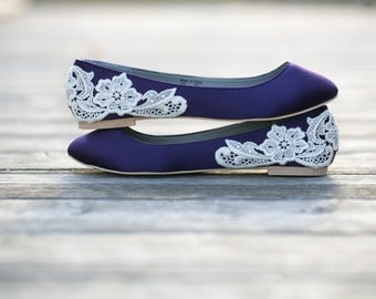Wedding Shoes - Purple Wedding Shoes/Purple Wedding Flats, Purple Flats, Satin Flats, Bridal Flats, Purple Shoes with Ivory Lace. US Size 10