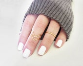 Gold Midi Knuckle Ring Set of 3, Above Knuckle Chevron and Band Rings, Midi Stacking Dainty Rings in Goldtone