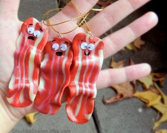 Funny Christmas Ornaments, Handmade Christmas Ornament Decoration,  Funny Bacon, Hand Made, Polymer Clay - 1pc