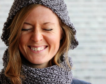 Camille Chunky Hooded Infinity Scarf Cowl Reversible Knitting PDF Pattern Oblique Rib