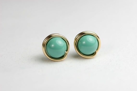 Gold Jade Stud Earrings Wire Wrapped Jewelry Handmade Gold Earrings Swarovski Pearl Earrings Gold Studs Green Turquoise Studs