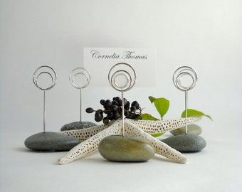 Six Natural Green Maine Beach Stone Dinner (or) Event Place Card Holders