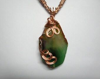 Green Agate Pendant, Copper Wire Wrapped, Semi Precious Stone, Bright Copper Swirls, Rainbow Colors, Dramatic Statement Piece, Handmade