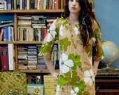 60's Barkcloth Dress Hawaiian Tapa Mini Pake Muu